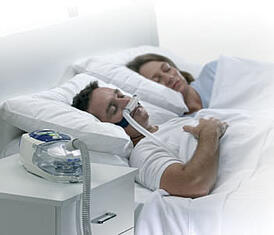 Sleep Apnea patient with sleep apnea machine