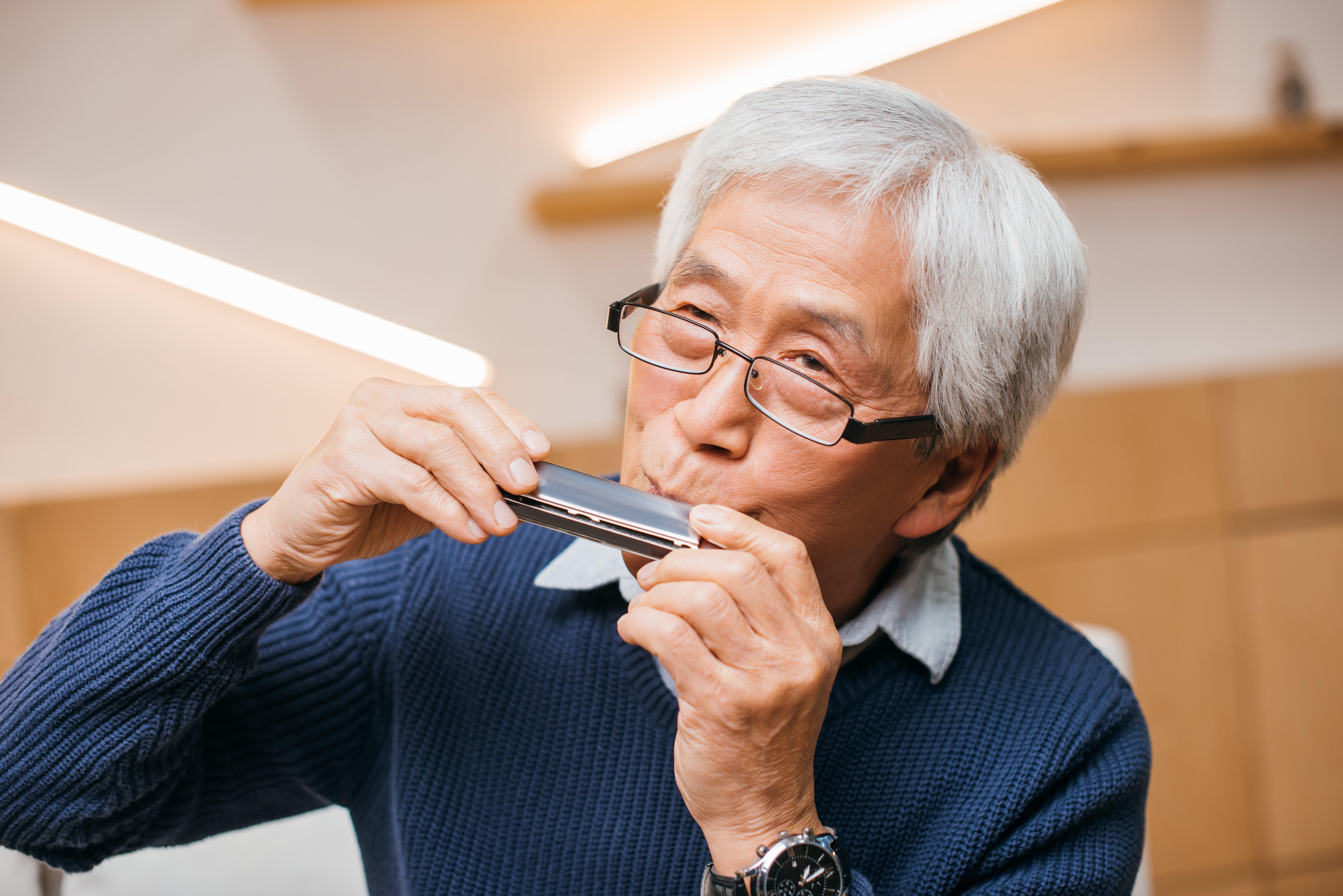 Harmonica older man