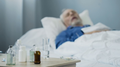 elderly patient sleeping after medication