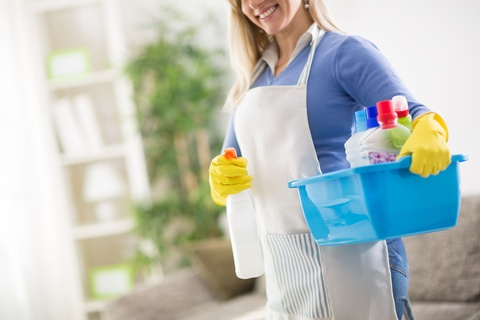 maid with cleaning supplied