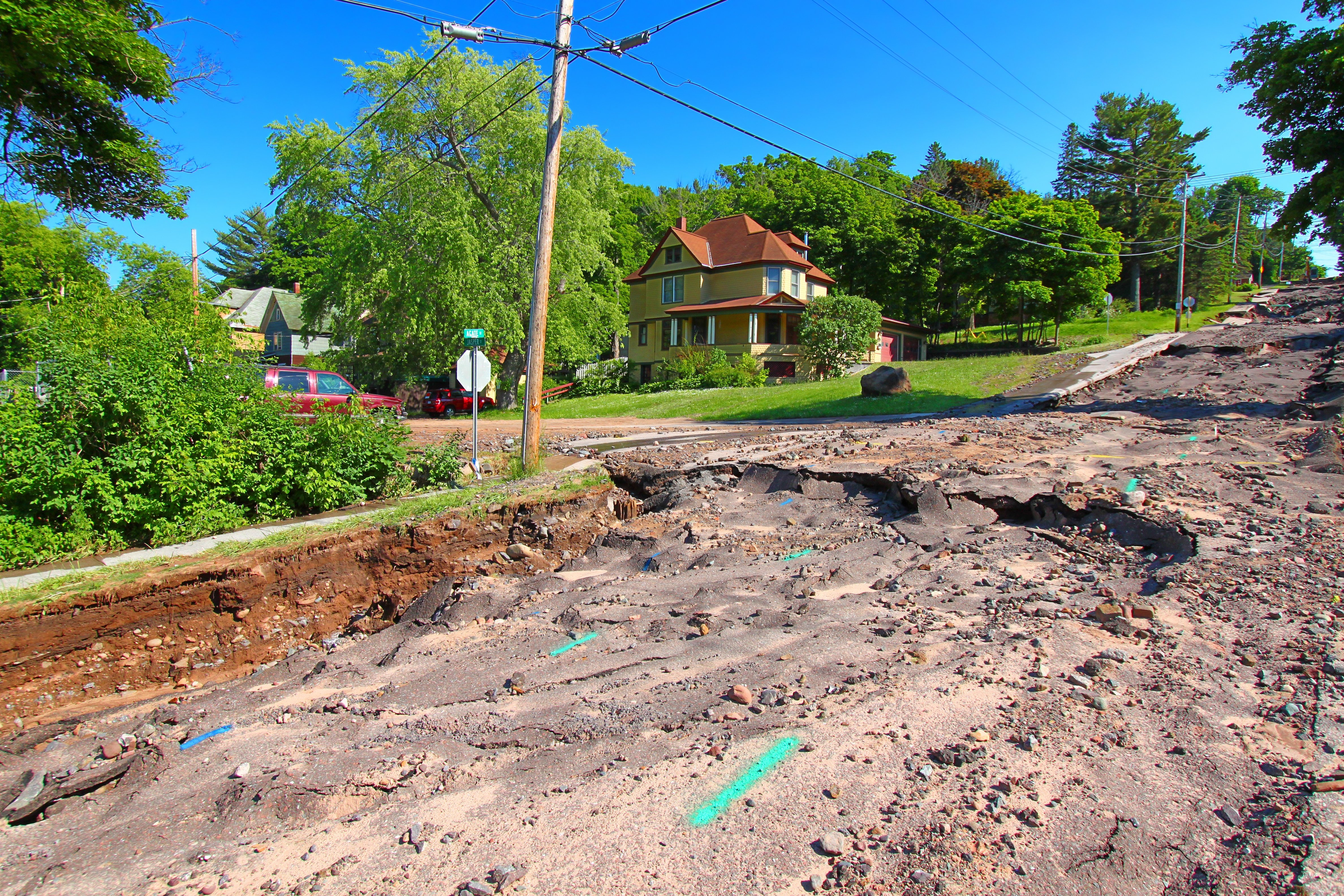 flash flooding destroyed a road